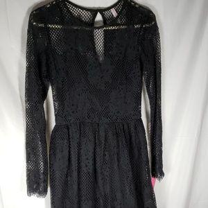 Black Lace Embroidered Midi Dress